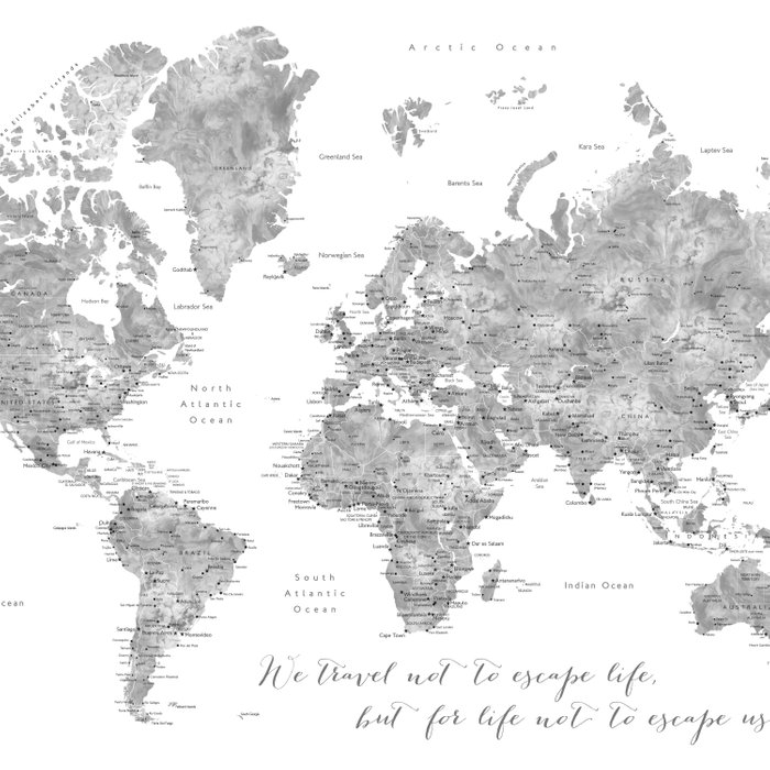 We travel not to escape life grayscale world map Comforters
