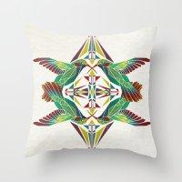 hummingbird Throw Pillows featuring hummingbird  by Manoou