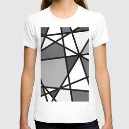 Triangels Geometric Lines dark grey  - grey - white T-shirt