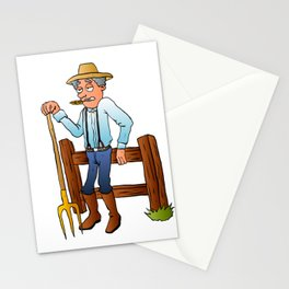 Cartoon Farmer Character with pitchfork Stationery Cards