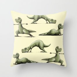 Yogasaurs (Yellow) Throw Pillow