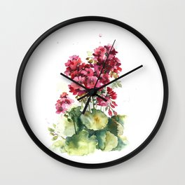 Watercolor geranium flowers Wall Clock