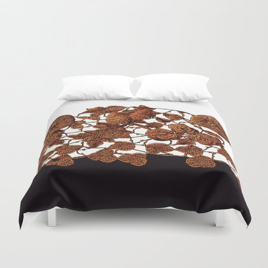 copper embroidery on black and white Duvet Cover