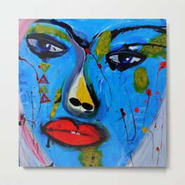 Red Lips Contemporary Art Metal Print