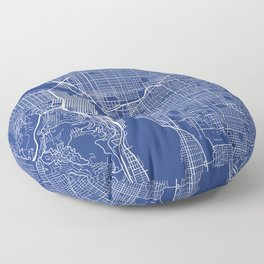 Portland Map, USA - Blue Floor Pillow