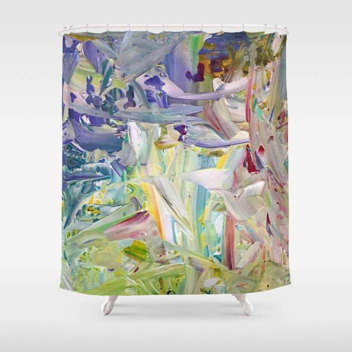 Abstracted Spring Iris Shower Curtain