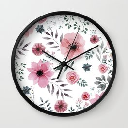 FLOWERS WATERCOLOR 16 Wall Clock
