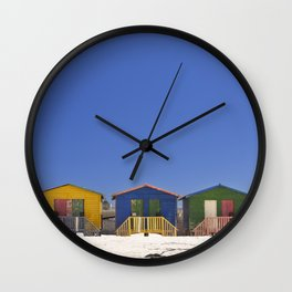 Colourful beach huts on the beach in Muizenberg, South Africa Wall Clock