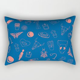 Blue Eclectic Pattern Rectangular Pillow