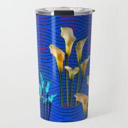 white Calla Lilies Blue & Red Pattern Art Travel Mug