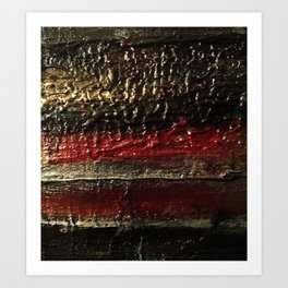 Bold Striped Black Red and Gold Textured Painting Art Print