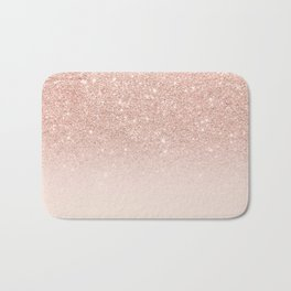Rose gold faux glitter pink ombre color block Bath Mat