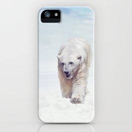 Large Polar bear walking on snow iPhone Case