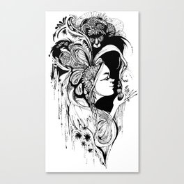 Cat Ladybug Hat Lady Illustration Canvas Print