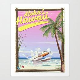 Aloha! Hawaii vintage travel poster. Art Print