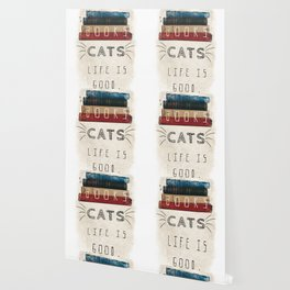 Books and cats design Wallpaper