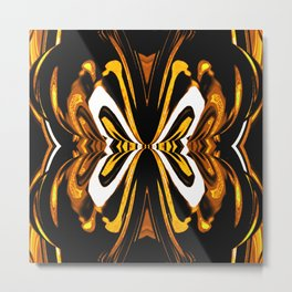 Abstract Butterfly on Black,White,Yellow,Gold Metal Print