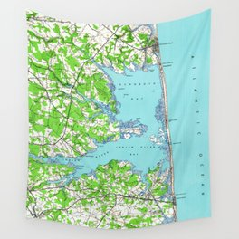 Vintage Rehoboth & Bethany Beach DE Map (1938) Wall Tapestry