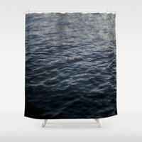 santa monica Shower Curtains featuring Santa Monica Ocean by SoCal Chic Photography