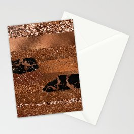 Girly Copper Coffee Glamour Glitter Metal Stripes   Stationery Cards