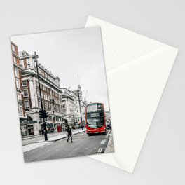 Red bus in Piccadilly street in London Stationery Cards