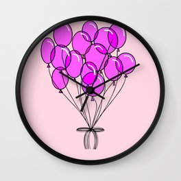 It's a girl in traditional pinks with Balloons Wall Clock