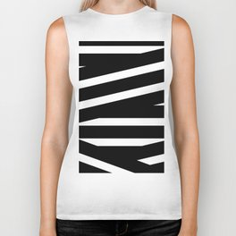 Abstract black & white Lines Stripes Pattern - Mix and Match with Simplicity of Life Biker Tank