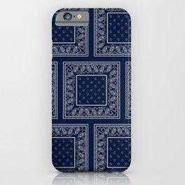 Navy Blue Bandana Large Patch Pattern iPhone Case