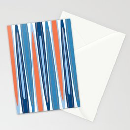 Mid Century Modern Vintage Inspired Stripes in Classic Blues and Muted Orange Stationery Cards