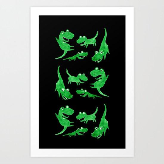 Alligators (Black Background) Art Print
