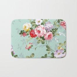 Elegant chic pink green roses flowers pattern Bath Mat