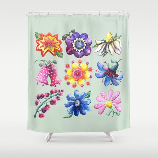 Pretty Flowers All in a Row Green Shower Curtain