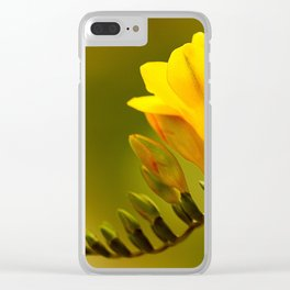 Yellow Green Flower Clear iPhone Case