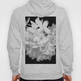 "Hydrangea ""SnowBall"" In Black And White Hoody"