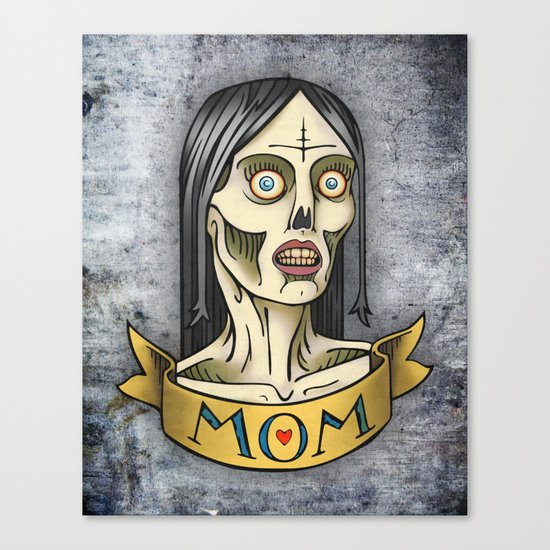 'Mom' Zombie Tattoo print Canvas Print