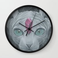 "sphynx Wall Clocks featuring ""Sphynx"" by Edward Cao"