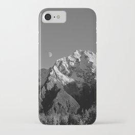 Moon Over Pioneer Peak B&W iPhone Case