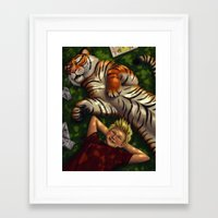 calvin hobbes Framed Art Prints featuring Calvin and Hobbes by Brianna Hoftun