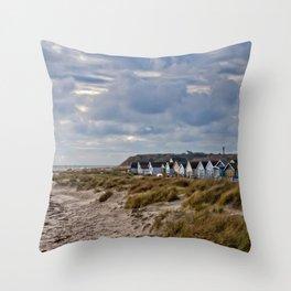 Hengistbury Head Beach Huts Dorset Throw Pillow