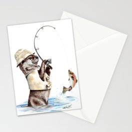 """"""" Natures Fisherman """" fishing river otter with trout Stationery Cards"""