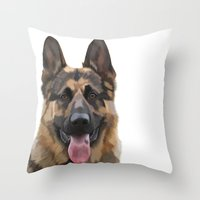 german shepherd Throw Pillows featuring German Shepherd by Just Like A Breeze