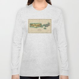 Vintage Map of Puerto Rico & Virgin Islands (1822) Long Sleeve T-shirt