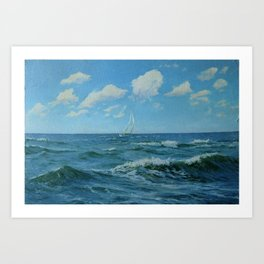 sea landscape. original oil painting Art Print