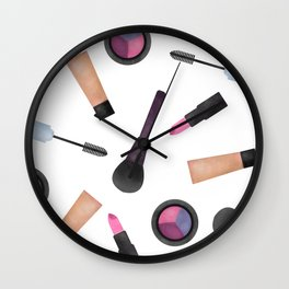 Scattered Makeup Pattern Wall Clock