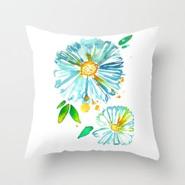 Lakeside Watercolour Blue Daisies Throw Pillow