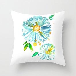 Lakeside Watercolour Blue Daisies Throw Pillow