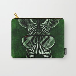 Hipster Zebra in Green Carry-All Pouch