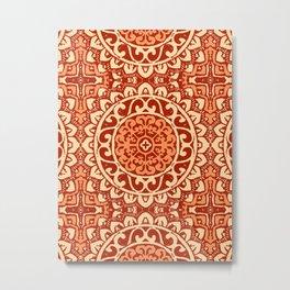Southwestern Sun Mandala Batik, Coral Orange Metal Print