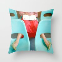 reading Throw Pillows featuring Reading by Kelly Nicolaisen