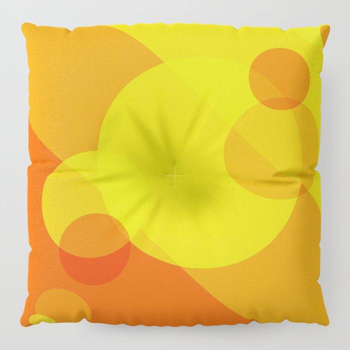 Orange Spheres Abstract Floor Pillow